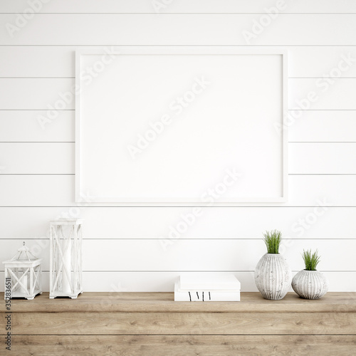 Obraz Mockup frame in farmhouse living room interior, 3d render - fototapety do salonu