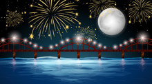 River View With Celebration Fireworks Background