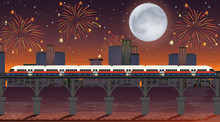 Train Cross The River With Celebration Fireworks Scene