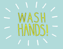 Wash Hands Antibacterial Prevention. Hand Sanitizer In Blue And Yellow Colors