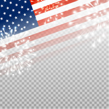 American Flag With Shiny Fireworks On Transparent Background - Vector Element For Independence Day Design