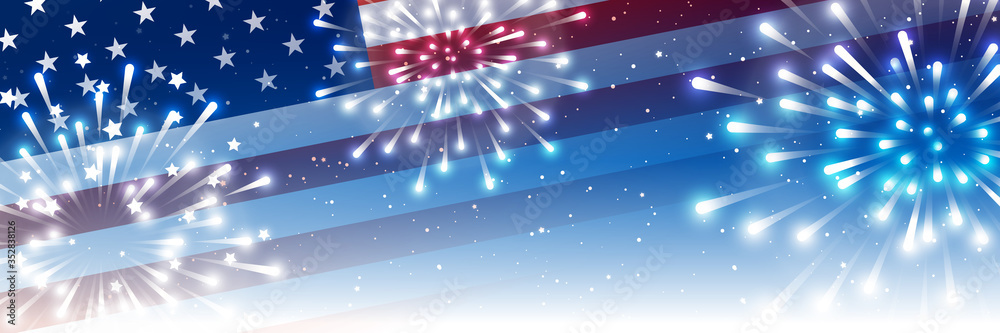 Fototapeta Independence day horizontal panoramic banner with American flag and fireworks on night starry sky background