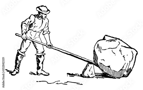 Fotografía Man Using Lever and Fulcrum to Lift Rock, vintage illustration.