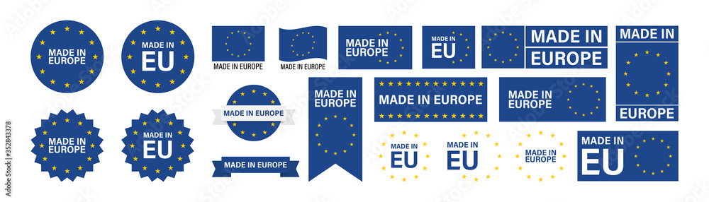 Fototapeta Made in Europe set flat icon for banner design. EU product isolated vector
