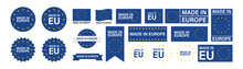 Made In Europe Set Flat Icon For Banner Design. EU Product Isolated Vector