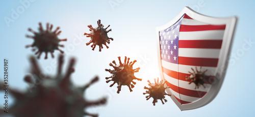 Shield in USA flag protect from coronavirus COVID-19. #352845987