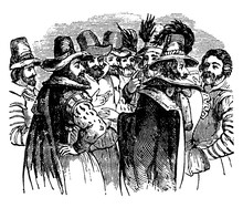 Guy Fawkes And His Associates, Vintage Illustration.