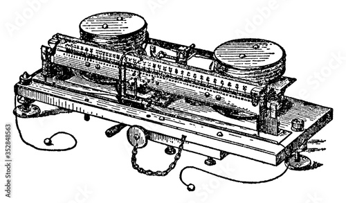 Lord Kelvin's Ampere Balance, vintage illustration. Canvas Print