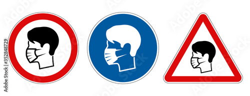Obraz Different face mask protection required signs - fototapety do salonu
