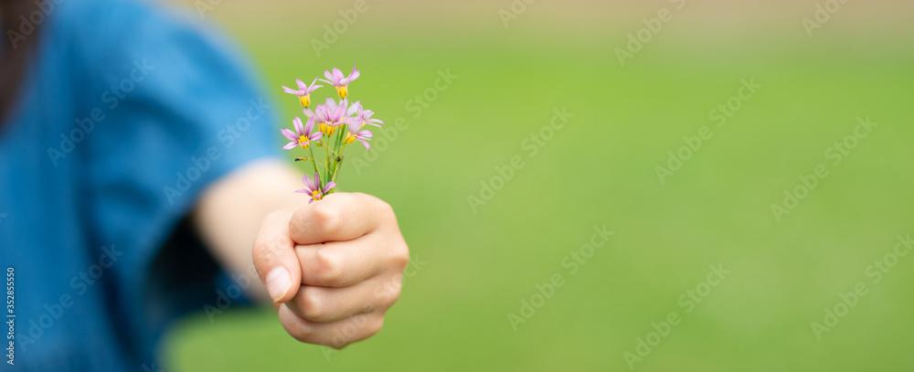 Fototapeta 小さな花を差し出す子供