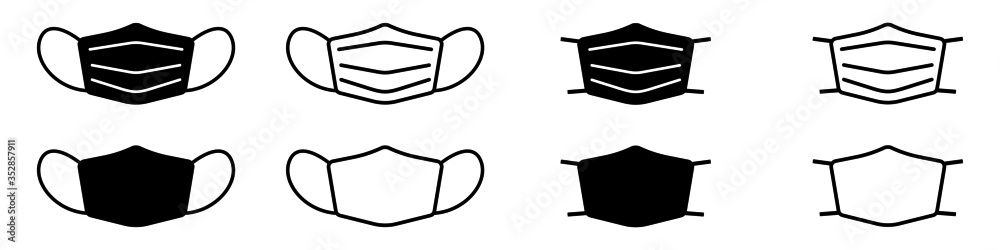 Fototapeta Set of face mask icons. Protective surgical or medical masks. Vector Illustration