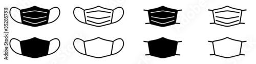 Obraz Set of face mask icons. Protective surgical or medical masks. Vector Illustration - fototapety do salonu