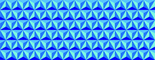 3D Triangle Pattern Geometry. Blue Abstract Background. Shadowed Blue Pyramid Shapes In Realistic Composition.