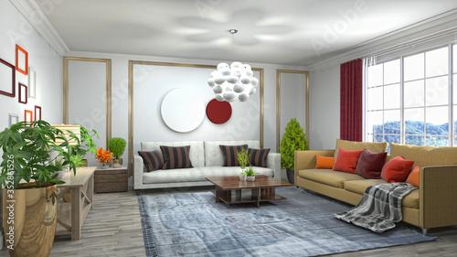 Interior of the living room. 3D illustration Wallpaper Mural
