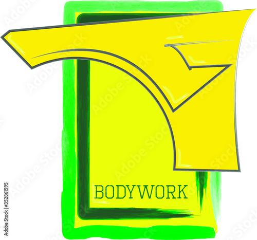 Photo bodywork paint shop repair service logo t-shirt poster