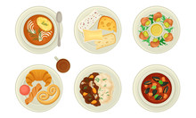 French Starters And Main Courses With Oyster Soup And Escargot Dish Vector Set