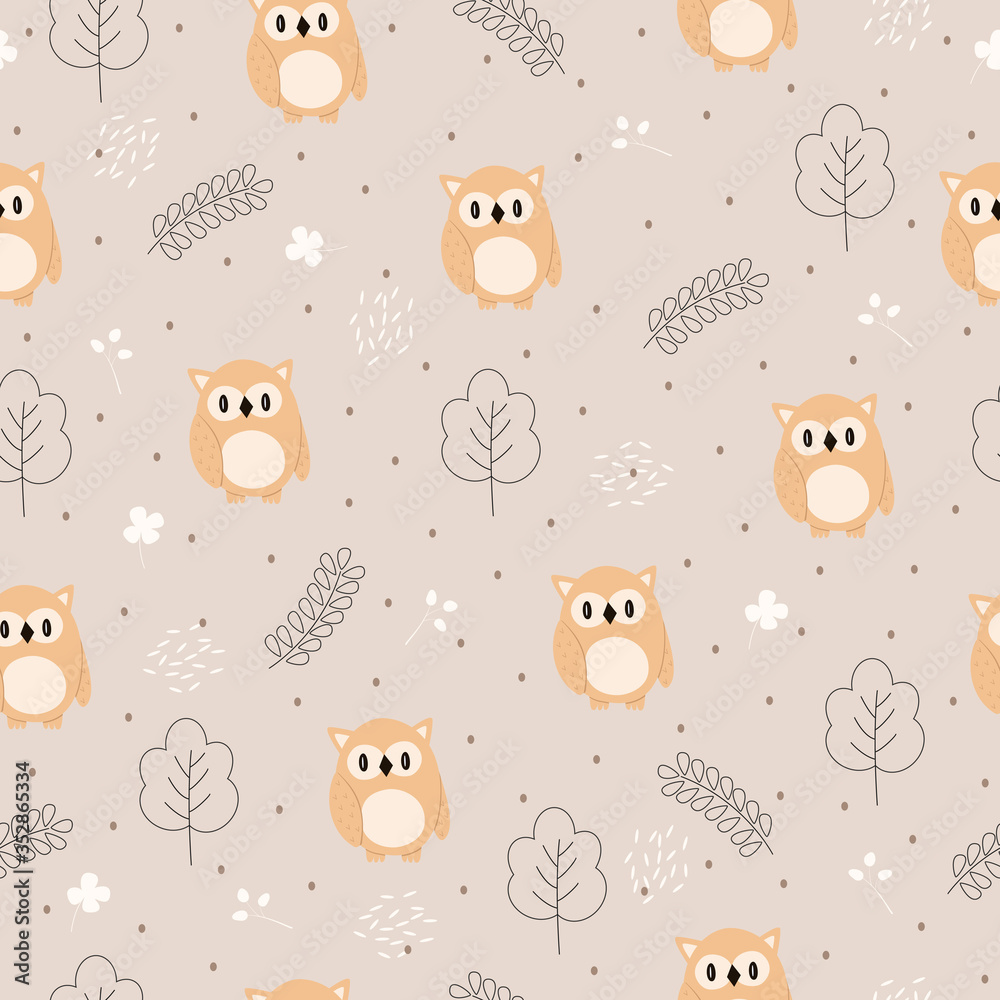 Seamless vector pattern of funny cartoon owl in the forest. Scandinavian style.