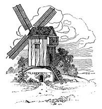 Medieval Windmill, Vintage Illustration.