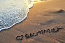 The Word Summer  Written On Sa...