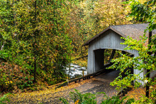 Covered Wooden Bridge In Autumn