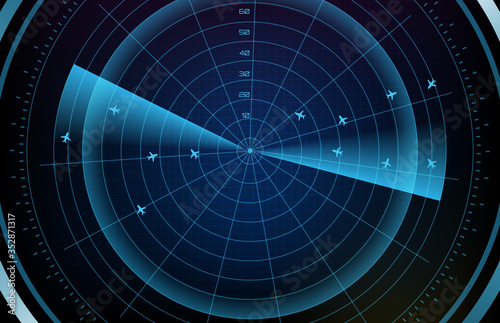 Fotografía abstract background of futuristic technology screen scan flight radar airplane r