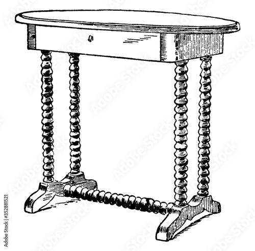 Obraz na plátně General Lee's Table, vintage illustration.