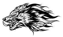 Angry Wolf Head Black And White