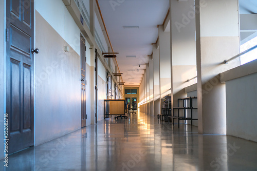 High School hallway corridor in College or university empty hall at classroom, n Fototapeta