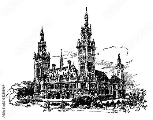 Slika na platnu Peace palace, vintage illustration.