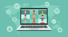 People Connecting Together, Learning Or Meeting Online With Teleconference, Video Conference Remote Working On Laptop Computer, Work From Home Or Anywhere, New Normal Concept, Vector Illustration