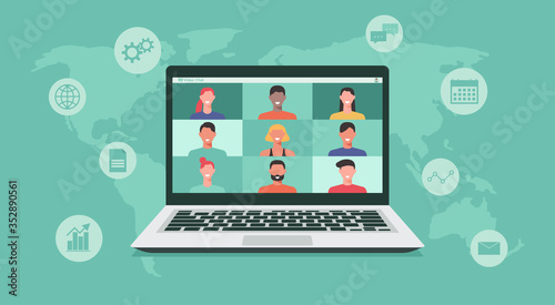 Obraz people connecting together, learning or meeting online with teleconference, video conference remote working on laptop computer, work from home or anywhere, new normal concept, vector illustration - fototapety do salonu