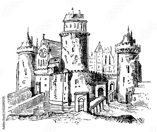 Photo Anglo-Saxon Feudal castle, vintage illustration.