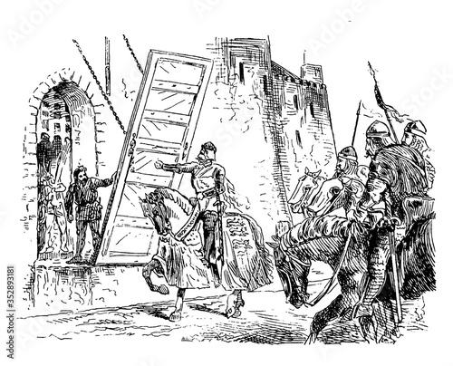 Edward II repulsed from Stirling castle by De Mowdray, vintage illustration Fototapeta