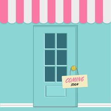 Vector Illustration, Flat Style, Various Front Of Shops, With Door And Text Coming Soon,shopping Concept