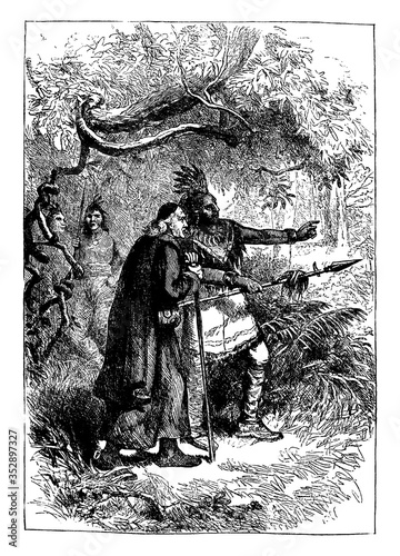 Native American and Pilgrim, vintage illustration. Canvas Print