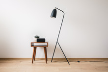 Metal Floor Lamp And Wooden Co...