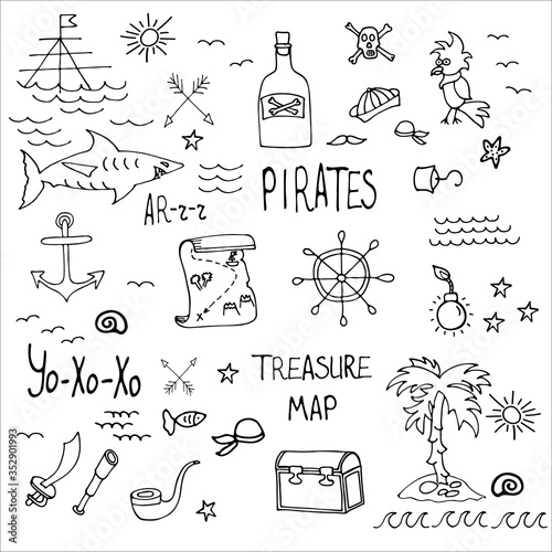 Photo Huge set of sea pirates include sheep, parrot, saber, anchor, steering wheel, spyglass, shark, iceland, bomb, pipe and treasure map