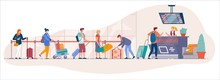 Airport Check In Desk. Traveler Queue From Airport Terminal Check In Counter For Drop-off Luggage To Security Line. Cartoon Vector People With Suitecase Stand In Queue To For Registration To Departure