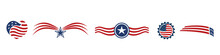 Set USA Icons Red White And Bl...