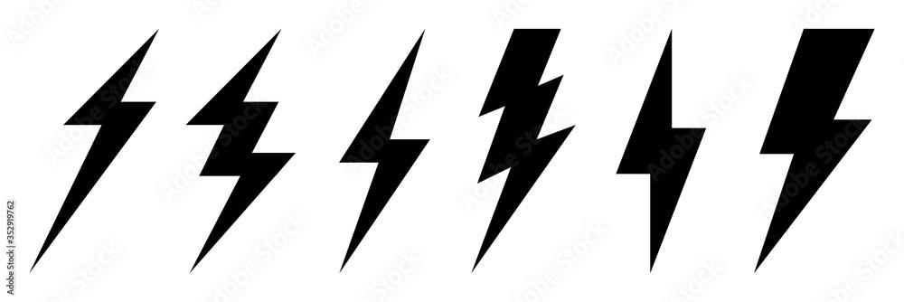 Fototapeta Lightning bolt icons set.Set lightning bolt. Creative vector illustration of thunder and bolt lighting flash icon collection design. Lightning icons symbol - vector.