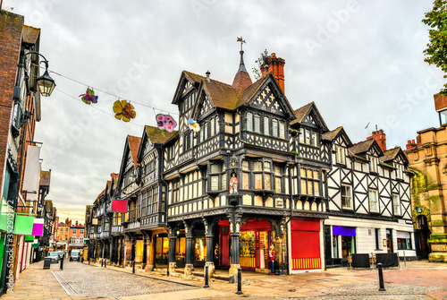 Obraz Traditional English Tudor architecture houses in Chester, England - fototapety do salonu