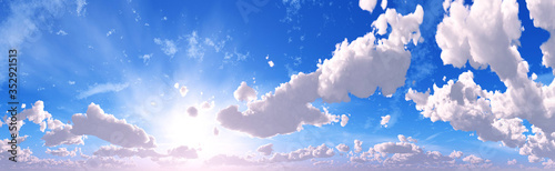 Obraz The sky with clouds panorama, the sun among the clouds, cloudy landscape, 3D rendering - fototapety do salonu