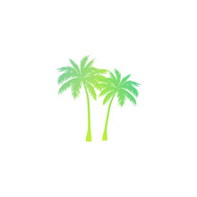 Silhouette Palm Neon Design Ve...