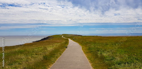 Pathway leading to lookout, Barry Island, Wales, United Kingdom Canvas Print