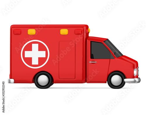 Obraz Cartoon Ambulance Car Isolated - fototapety do salonu