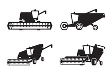 Combine Harvester In Perspective - Vector Illustration