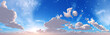 Leinwandbild Motiv The sky with clouds panorama, the sun among the clouds, cloudy landscape, 3D rendering