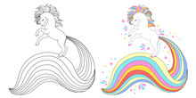 Line And Color Unicorns Vector...