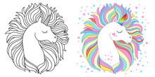 Line And Color Unicorns Vector Illustration For Coloring Book