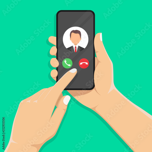 Incoming call on the smartphone screen with the image of the caller Obraz na płótnie